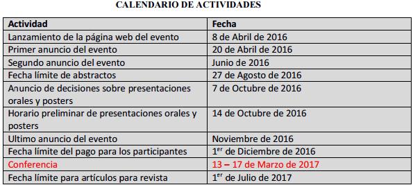 calendario de actividades GALAPAGOS