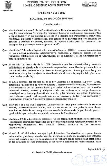 Resolución CES1-1